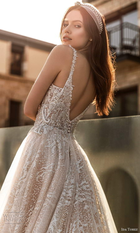 ida torez 2021 bridal sleeveless straps plunging neckline fully embellished a line ball gown wedding dress blush chapel train (7) zbv