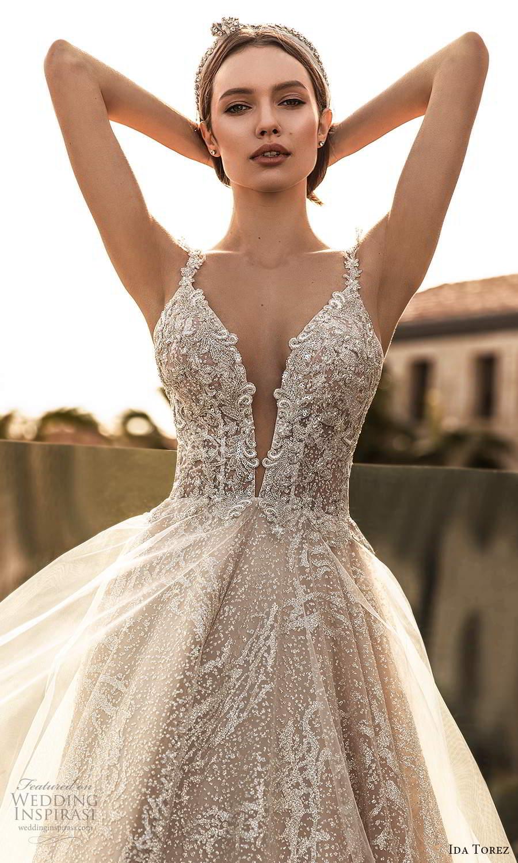 ida torez 2021 bridal sleeveless straps plunging neckline fully embellished a line ball gown wedding dress blush chapel train (7) zv