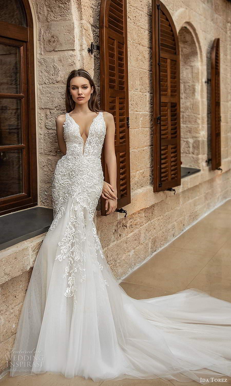 ida torez 2021 bridal sleeveless straps plunging neckline fully embellished lace fit flare mermaid wedding dress chapel train (15) mv