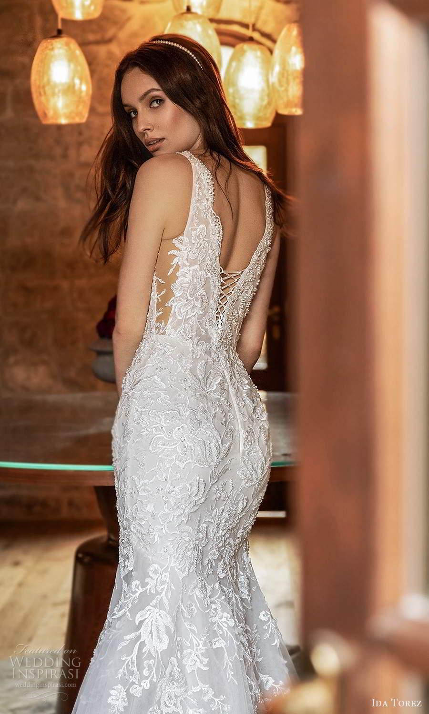 ida torez 2021 bridal sleeveless straps plunging neckline fully embellished lace fit flare mermaid wedding dress chapel train (15) zbv