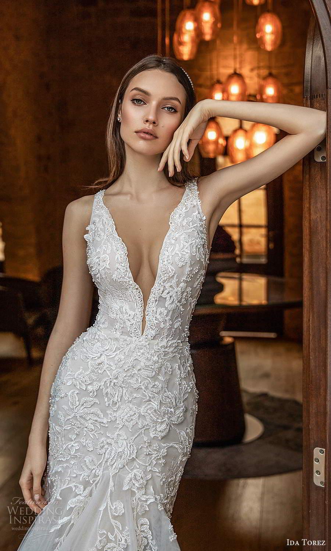 ida torez 2021 bridal sleeveless straps plunging neckline fully embellished lace fit flare mermaid wedding dress chapel train (15) zv
