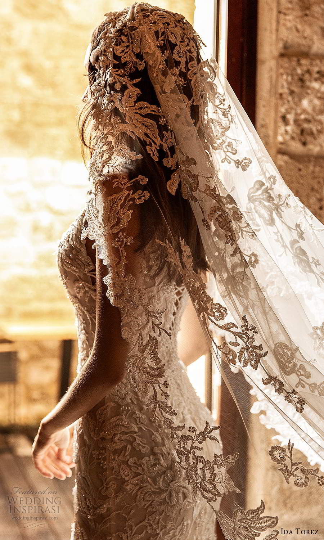 ida torez 2021 bridal sleeveless straps plunging neckline fully embellished lace fit flare mermaid wedding dress chapel train veil (15) zbv