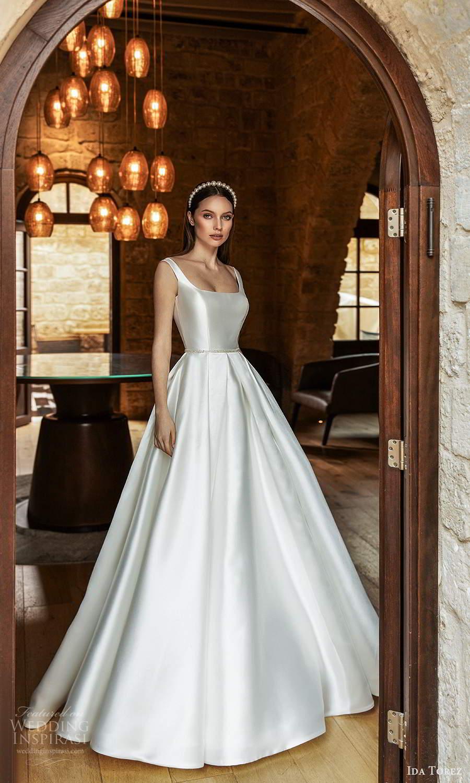 ida torez 2021 bridal sleeveless straps square neckline minimalist clean a line ball gown wedding dress chapel train (12) mv