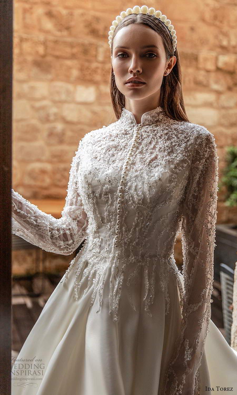 ida torez 2021 bridal sleeveless straps square neckline minimalist clean a line ball gown wedding dress chapel train long sleeve jacket (12) zv