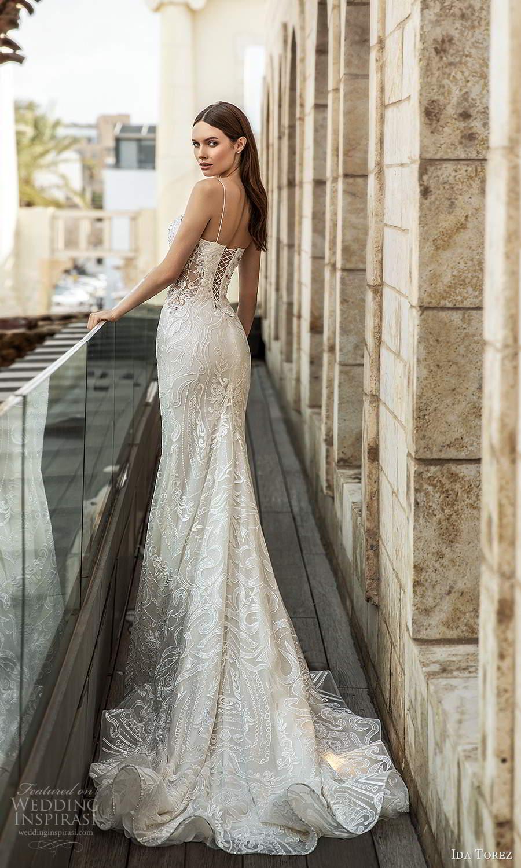 ida torez 2021 bridal sleeveless thin straps straight across neckline fully embellished sheath wedding dress chapel train (8) bv
