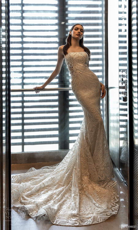 ida torez 2021 bridal sleeveless thin straps straight across neckline fully embellished sheath wedding dress chapel train (8) fv
