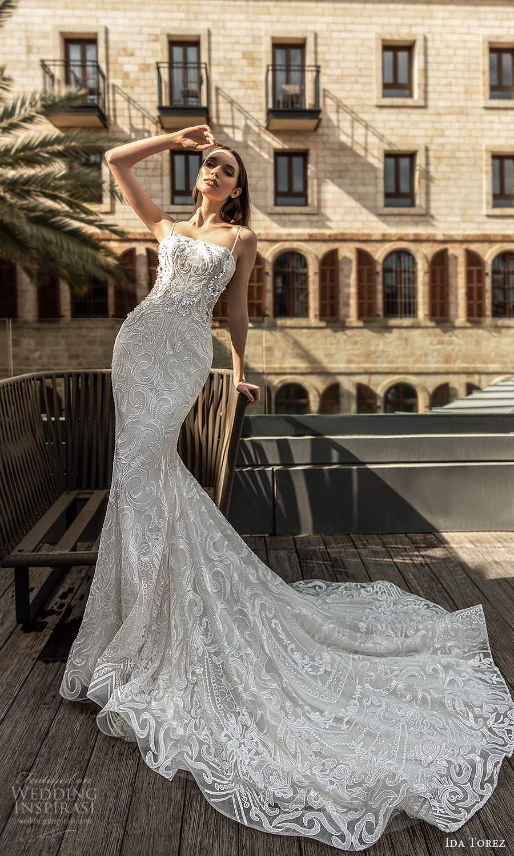 ida torez 2021 bridal sleeveless thin straps straight across neckline fully embellished sheath wedding dress chapel train (8) mv