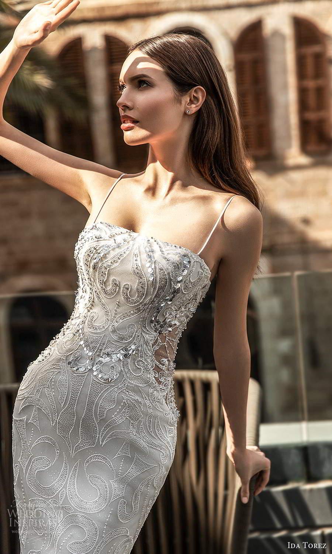 ida torez 2021 bridal sleeveless thin straps straight across neckline fully embellished sheath wedding dress chapel train (8) zv