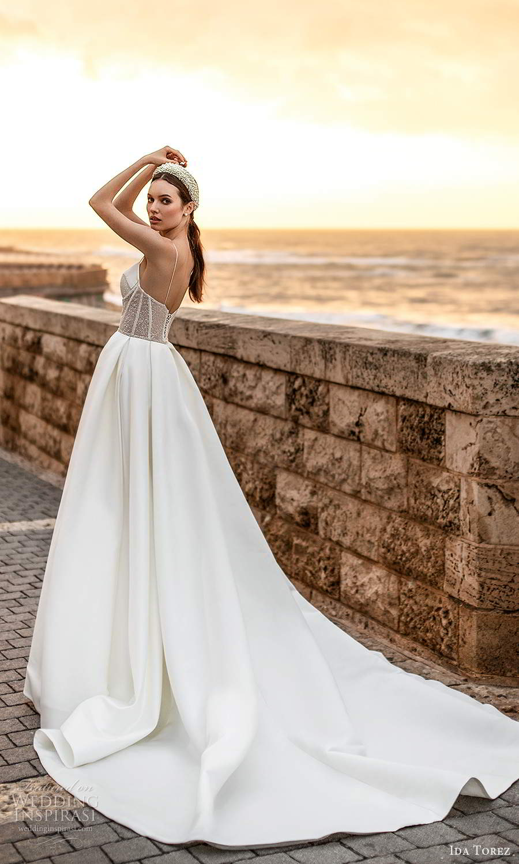 ida torez 2021 bridal sleeveless thin straps sweetheart neckline embelilshed corset bodice a line ball gown wedding dress chapel train (5) bv