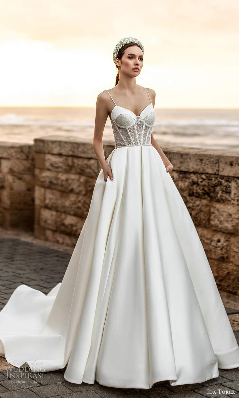 ida torez 2021 bridal sleeveless thin straps sweetheart neckline embelilshed corset bodice a line ball gown wedding dress chapel train (5) mv