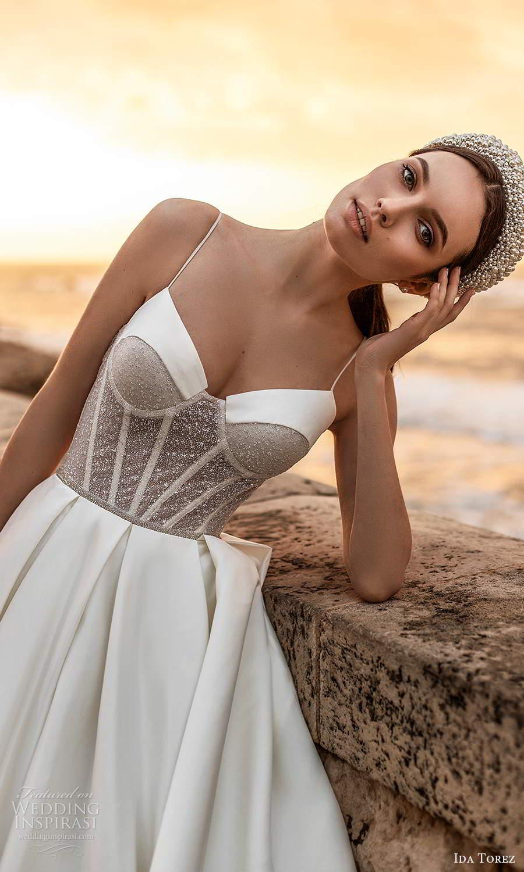 ida torez 2021 bridal sleeveless thin straps sweetheart neckline embelilshed corset bodice a line ball gown wedding dress chapel train (5) zv