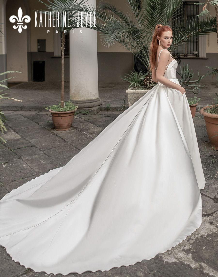 katherine joyce 2021 naples bridal double strap deep plunging sweetheart neckline minimalist simple modern a line wedding dress mid back royal train (muza) bv