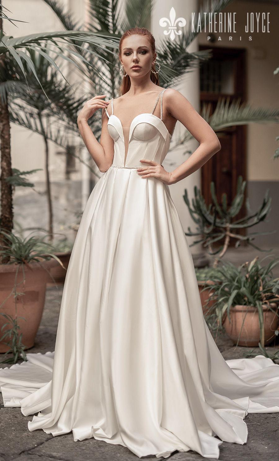 katherine joyce 2021 naples bridal double strap deep plunging sweetheart neckline minimalist simple modern a line wedding dress mid back royal train (muza) mv