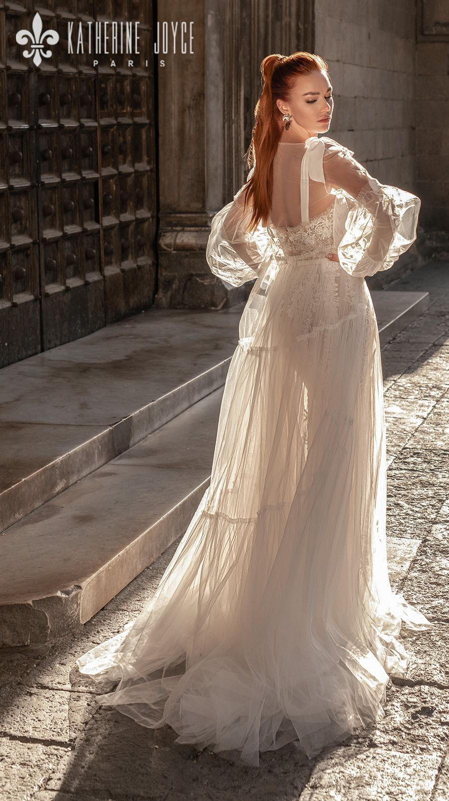katherine joyce 2021 naples bridal long bishop sleeves ribbon straps sweetheart neckline heavy embellished bodice tulle skirt romantic a line wedding dress mid back medium train (camila) bv