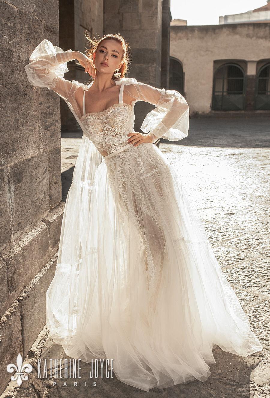 katherine joyce 2021 naples bridal long bishop sleeves ribbon straps sweetheart neckline heavy embellished bodice tulle skirt romantic a line wedding dress mid back medium train (camila) mv
