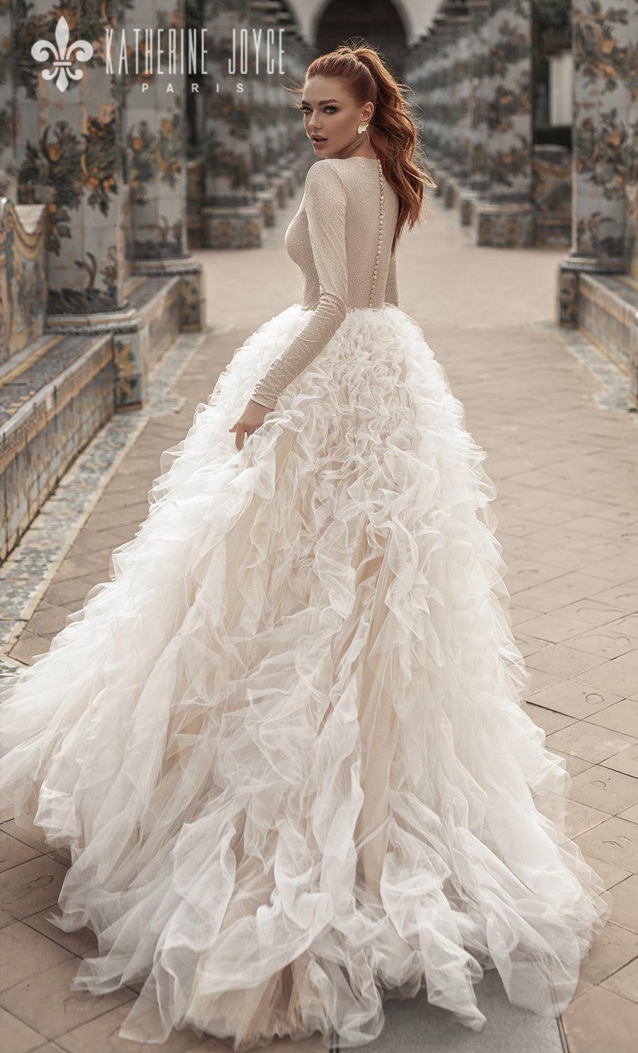 katherine joyce 2021 naples bridal long sleeves bateau neck light embellishment ruffled skirt glamorous a line wedding dress covered back chapel train (betanie) bv
