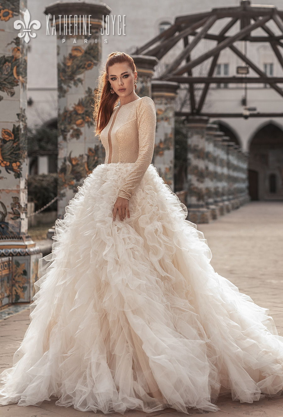 katherine joyce 2021 naples bridal long sleeves bateau neck light embellishment ruffled skirt glamorous a line wedding dress covered back chapel train (betanie) mv