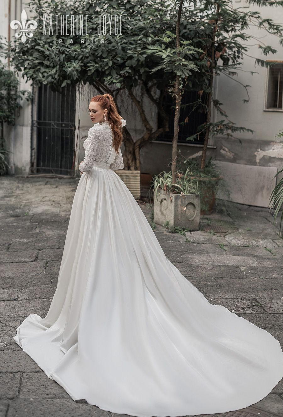 katherine joyce 2021 naples bridal long sleeves high neck full embellishment glitter glamorous ball gown wedding dress covered button back chapel train (mulan) bv