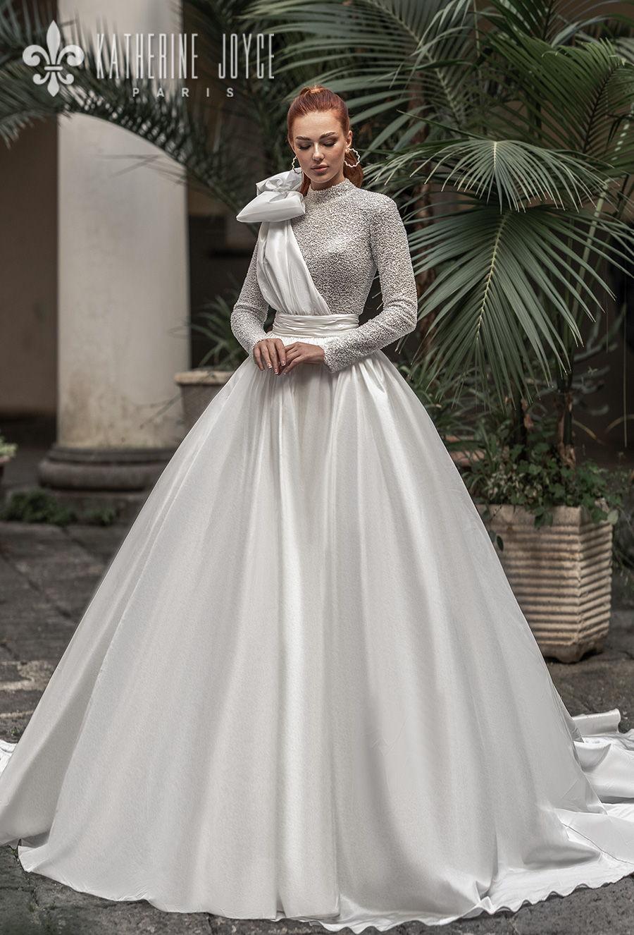 katherine joyce 2021 naples bridal long sleeves high neck full embellishment glitter glamorous ball gown wedding dress covered button back chapel train (mulan) mv