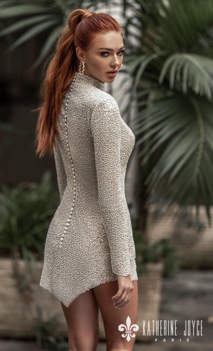 katherine joyce 2021 naples bridal long sleeves high neck full embellishment glitter glamorous miniskirt wedding dress covered button back (mulan) bv