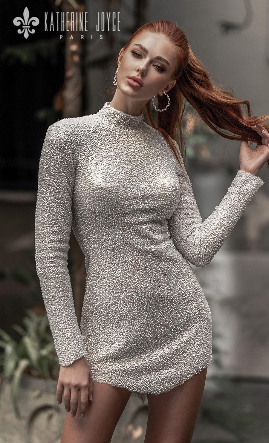 katherine joyce 2021 naples bridal long sleeves high neck full embellishment glitter glamorous miniskirt wedding dress covered button back (mulan) mv