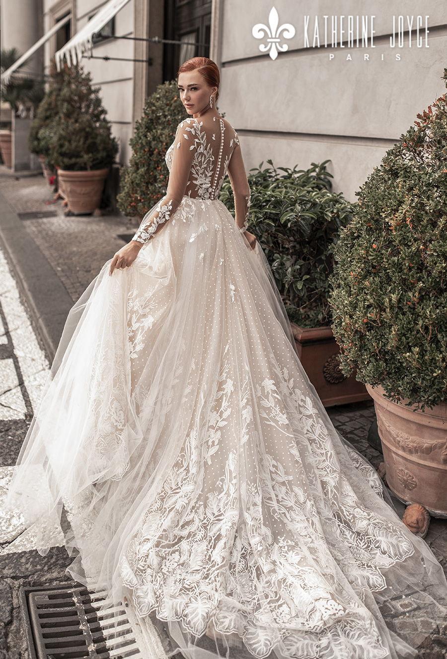 katherine joyce 2021 naples bridal long sleeves sheer bateau sweetheart full embellishment romantic a line wedding dress sheer button back chapel train (afradita) bv