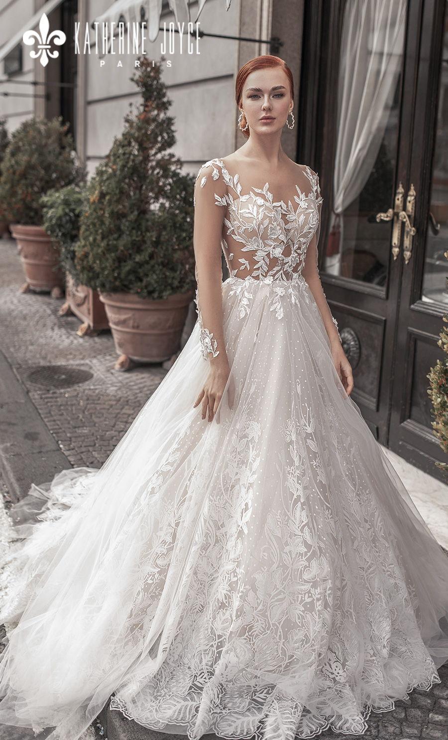 katherine joyce 2021 naples bridal long sleeves sheer bateau sweetheart full embellishment romantic a line wedding dress sheer button back chapel train (afradita) mv