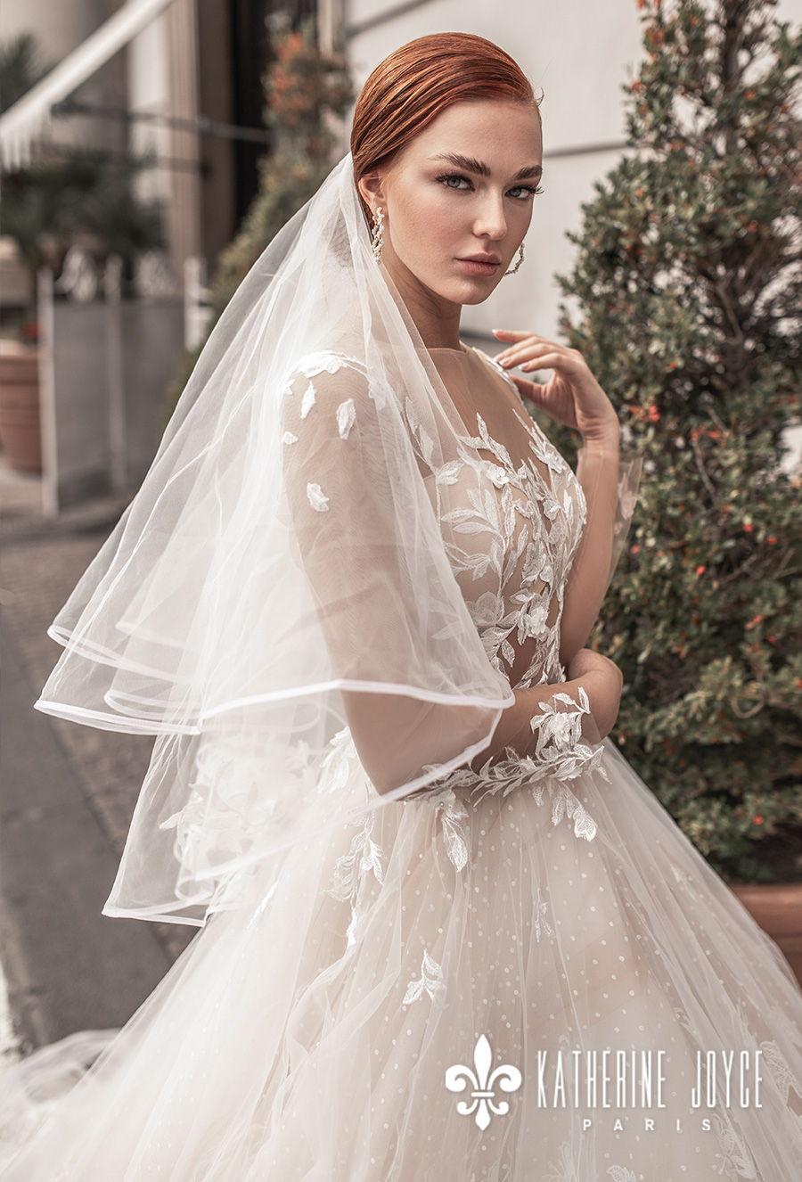 katherine joyce 2021 naples bridal long sleeves sheer bateau sweetheart full embellishment romantic a line wedding dress sheer button back chapel train (afradita) zv