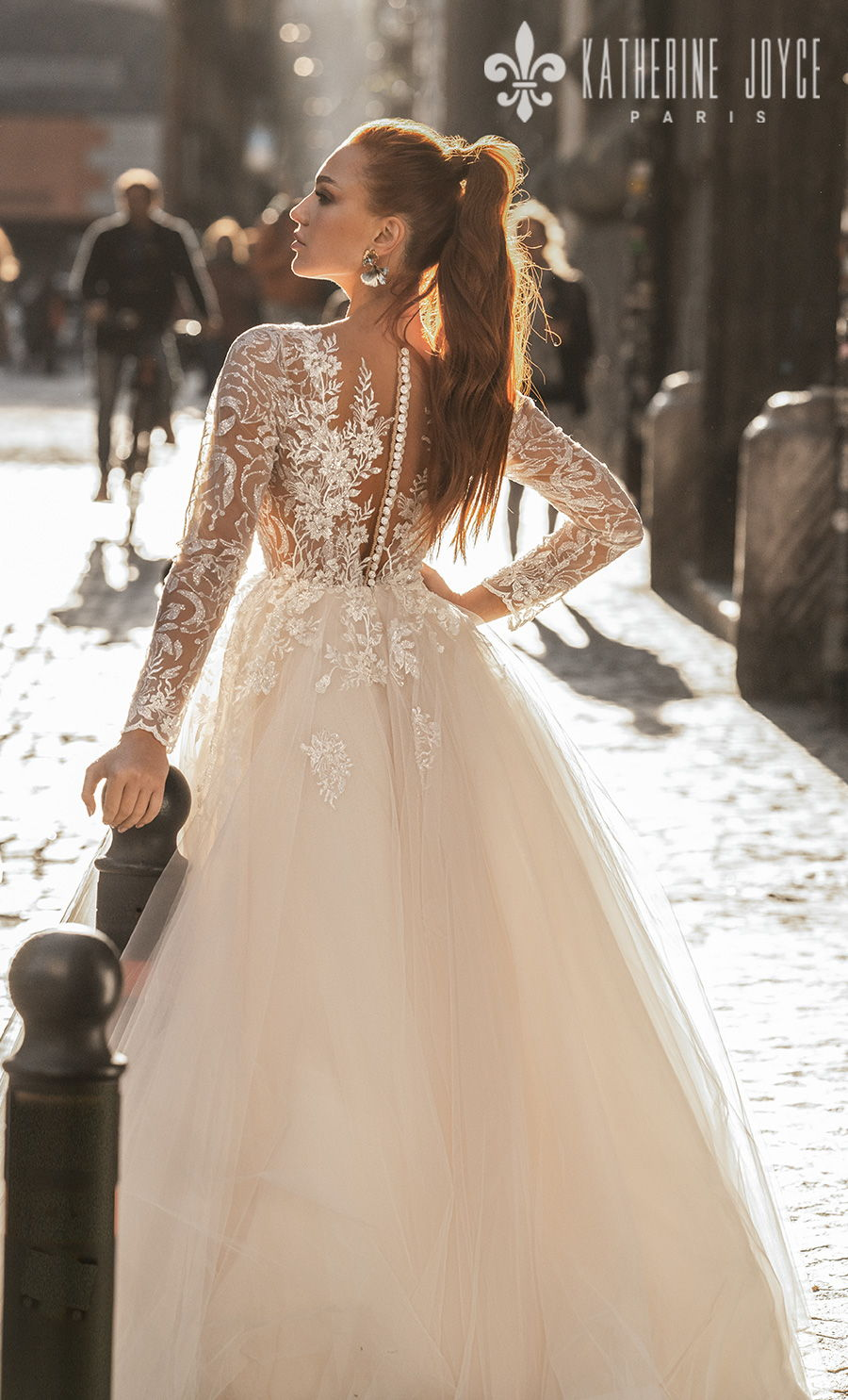 katherine joyce 2021 naples bridal long sleeves v neck heavily embellished bodice romantic a line wedding dress sheer button v back (vesta) bv