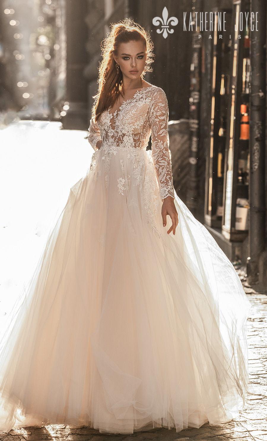katherine joyce 2021 naples bridal long sleeves v neck heavily embellished bodice romantic a line wedding dress sheer button v back (vesta) mv