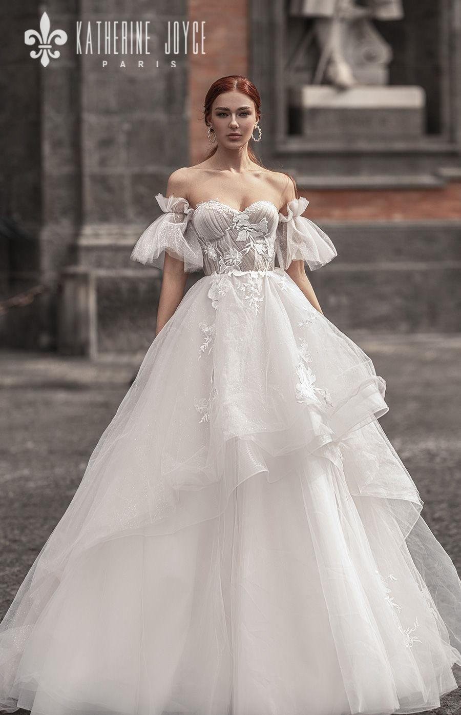 katherine joyce 2021 naples bridal off the shoulder half lantern sleeves sweetheart neckline heavily embellished bodice tiered skirt romantic a line wedding dress mid back (kaya) mv