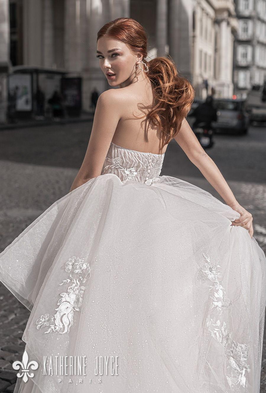 katherine joyce 2021 naples bridal off the shoulder half lantern sleeves sweetheart neckline heavily embellished bodice tiered skirt romantic a line wedding dress mid back (kaya) zbv