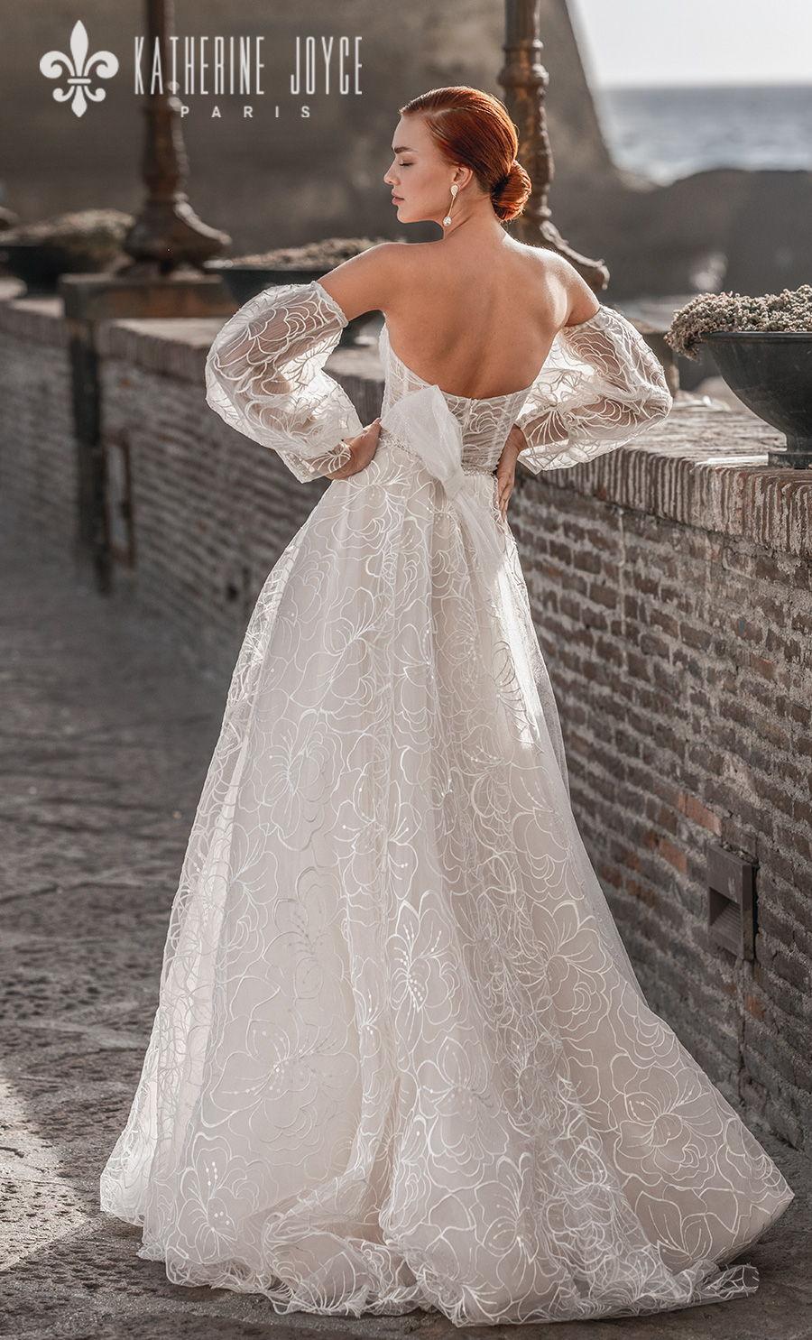 katherine joyce 2021 naples bridal off the shoulder long bishop sleeves sweetheart neckline full embellishment romantic a line wedding dress ribbon mid back sweep train (elizabet) bv