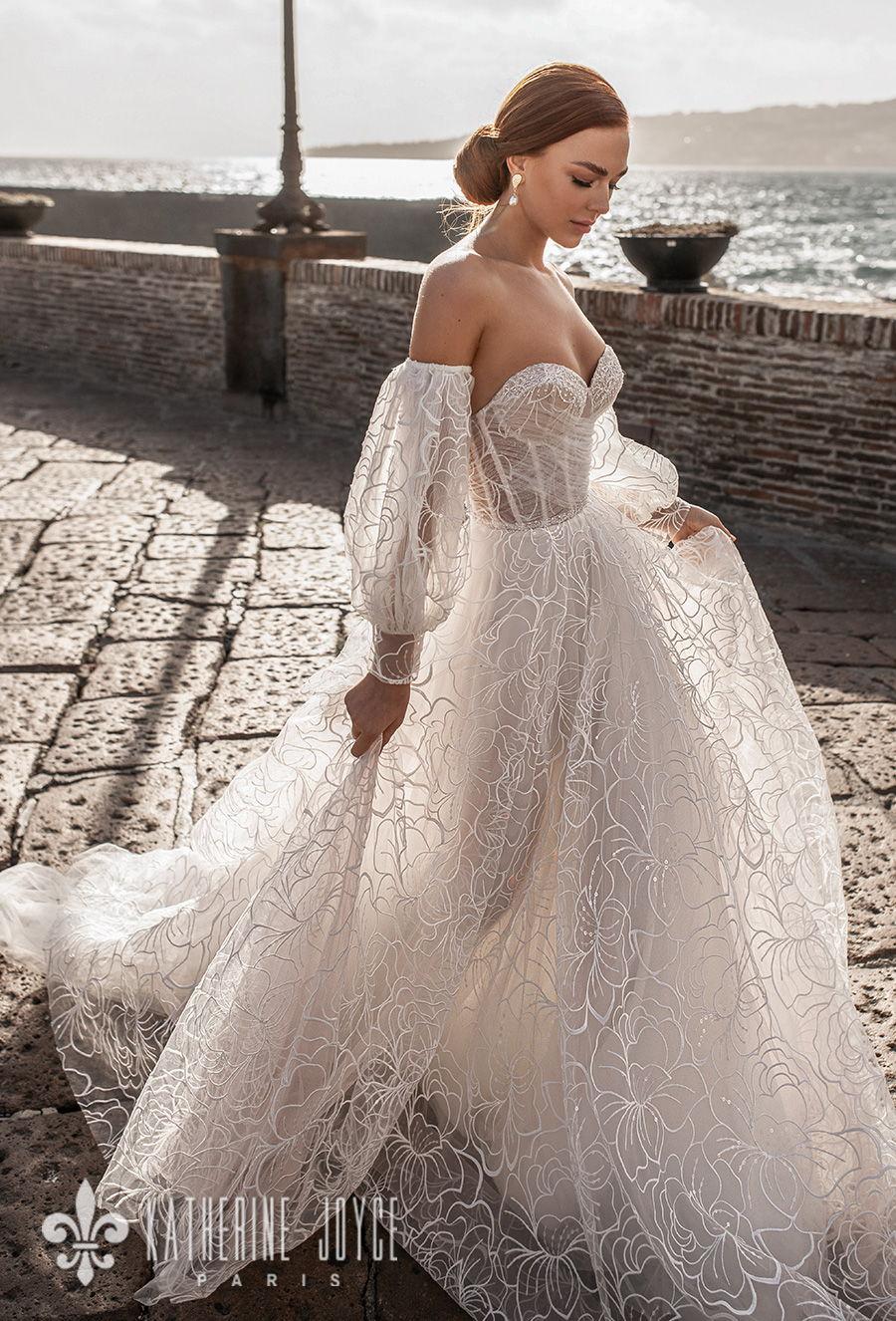 katherine joyce 2021 naples bridal off the shoulder long bishop sleeves sweetheart neckline full embellishment romantic a line wedding dress ribbon mid back sweep train (elizabet) mv