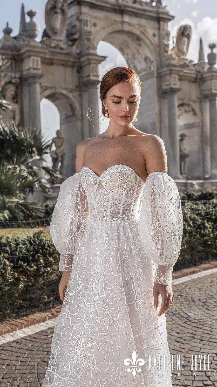katherine joyce 2021 naples bridal off the shoulder long bishop sleeves sweetheart neckline full embellishment romantic a line wedding dress ribbon mid back sweep train (elizabet) zv