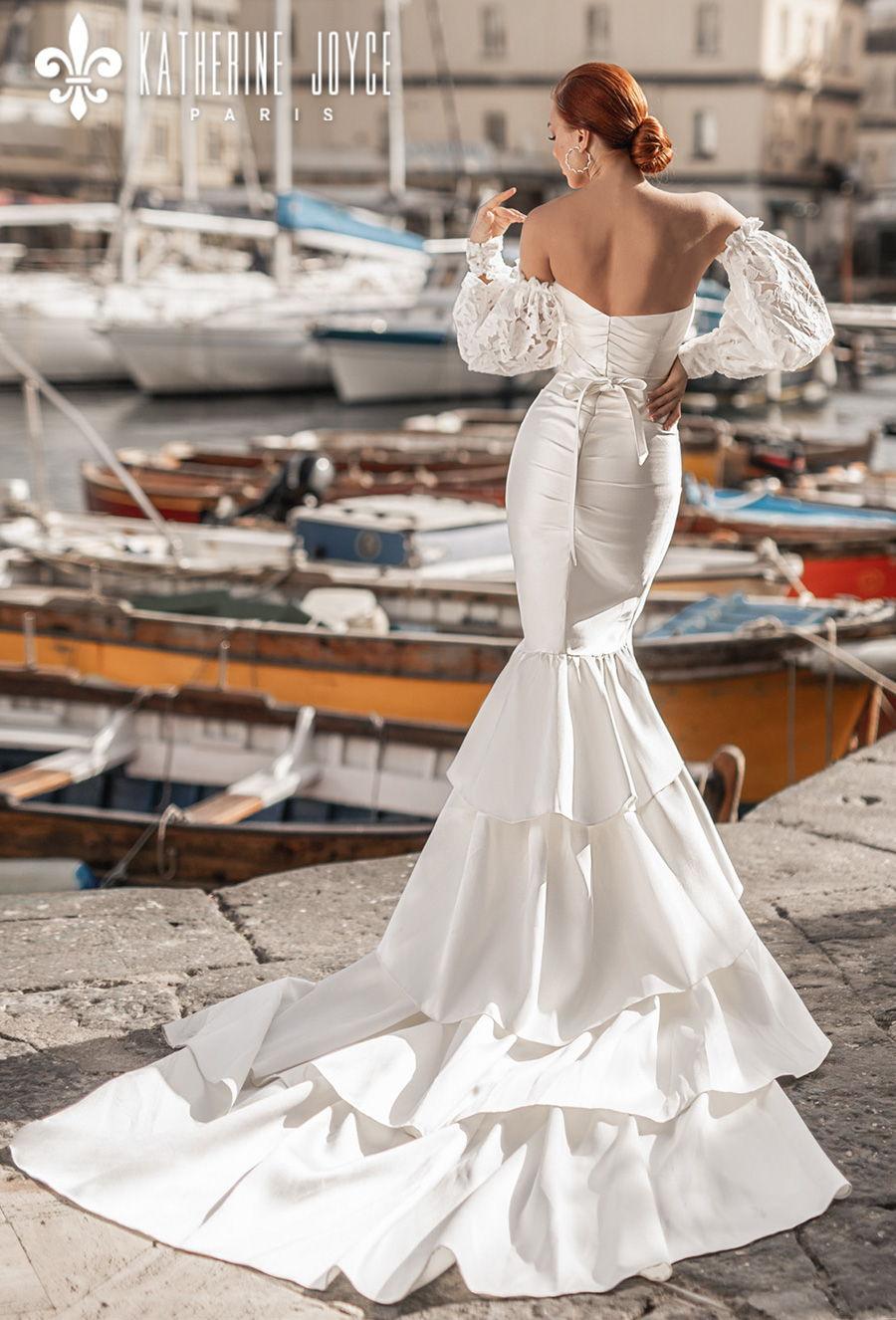 katherine joyce 2021 naples bridal off the shoulder long bishop sleeves sweetheart neckline simple minimalist elegant mermaid wedding dress mid back chapel train (cloudi) bv