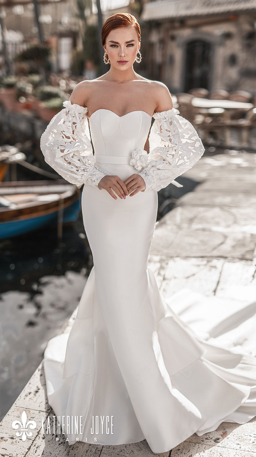 katherine joyce 2021 naples bridal off the shoulder long bishop sleeves sweetheart neckline simple minimalist elegant mermaid wedding dress mid back chapel train (cloudi) mv