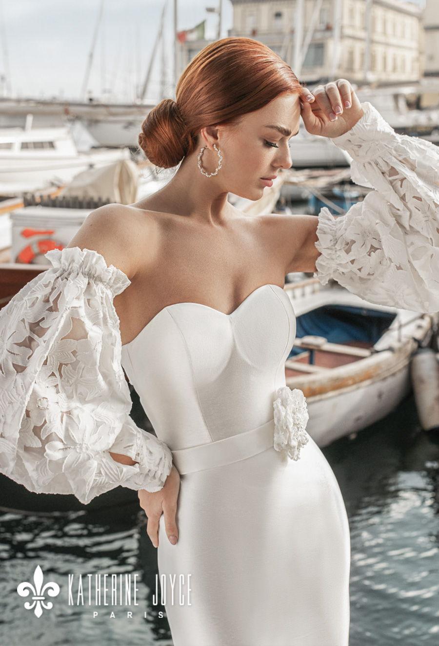 katherine joyce 2021 naples bridal off the shoulder long bishop sleeves sweetheart neckline simple minimalist elegant mermaid wedding dress mid back chapel train (cloudi) zv