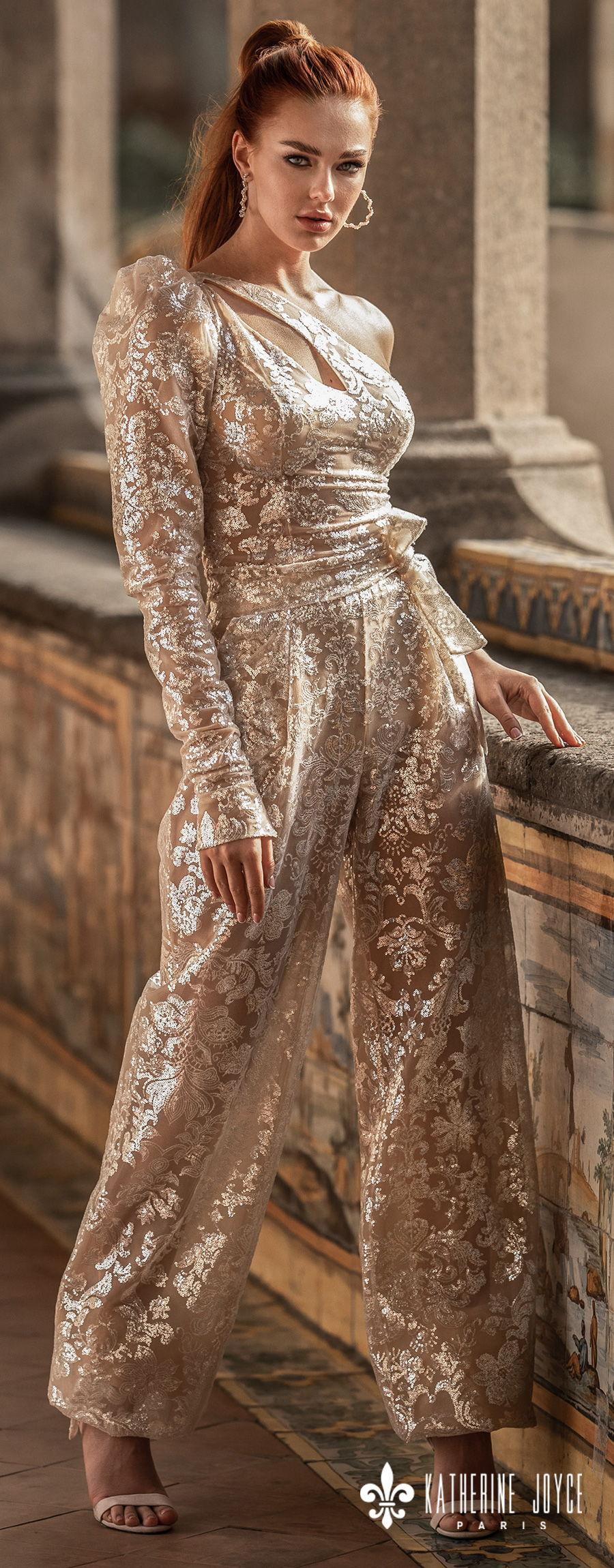 katherine joyce 2021 naples bridal one shoulder long sleev full embellishment glamorous golden jumpsuit wedding dress (manila) lv