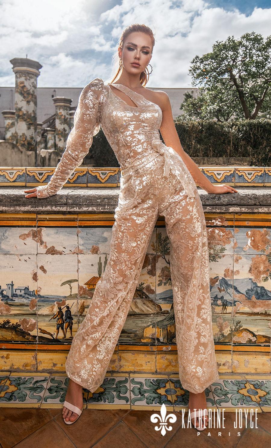 katherine joyce 2021 naples bridal one shoulder long sleev full embellishment glamorous golden jumpsuit wedding dress (manila) mv