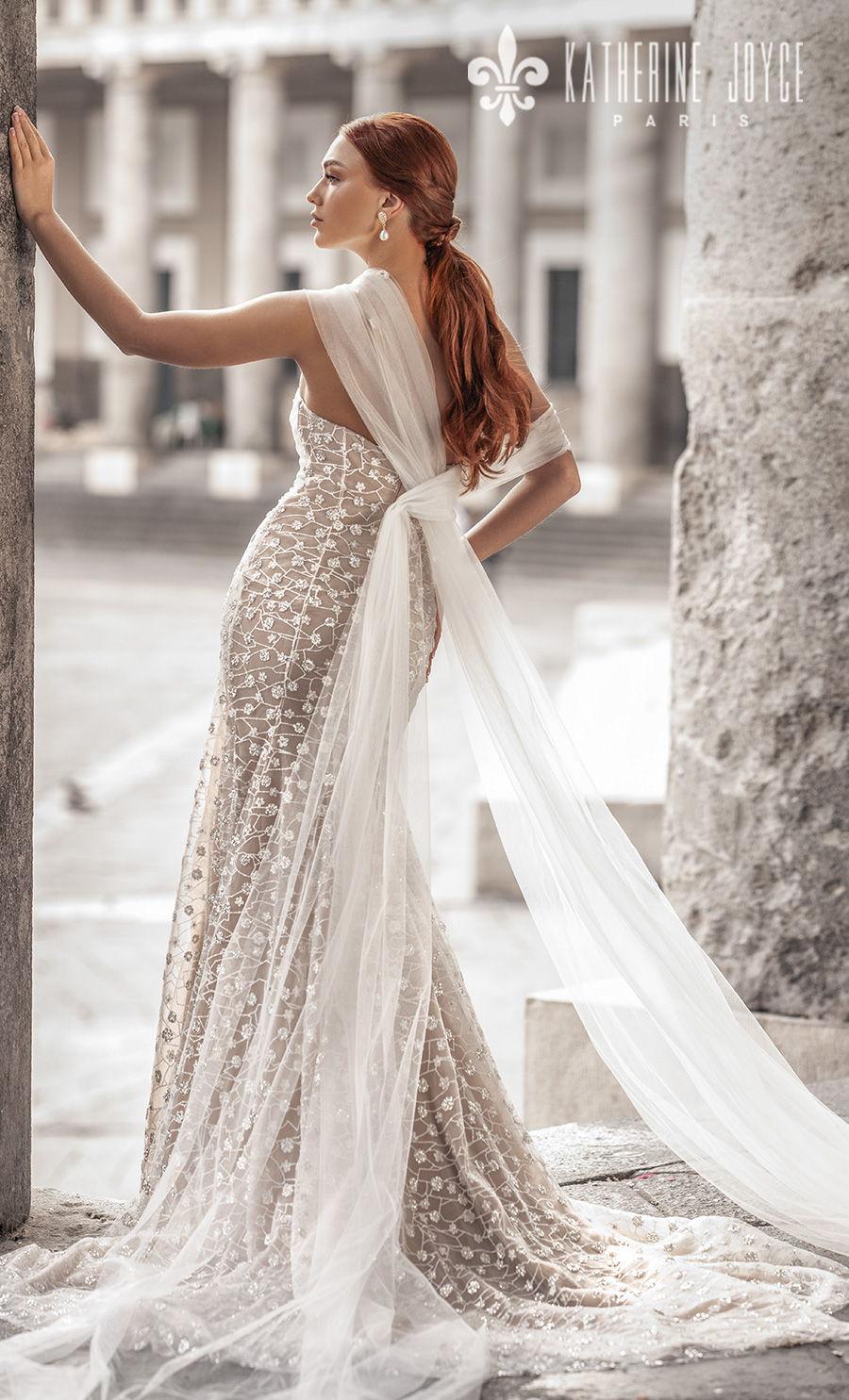 katherine joyce 2021 naples bridal one shoulder sweetheart neckline full embellishment romantic fit and flare ivory wedding dress mid back medium train (zarina) bv