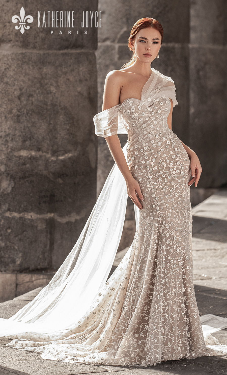 katherine joyce 2021 naples bridal one shoulder sweetheart neckline full embellishment romantic fit and flare ivory wedding dress mid back medium train (zarina) mv