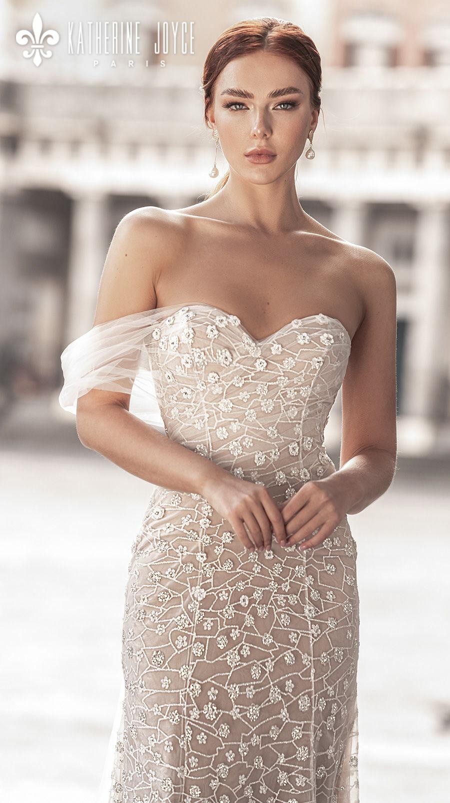 katherine joyce 2021 naples bridal one shoulder sweetheart neckline full embellishment romantic fit and flare ivory wedding dress mid back medium train (zarina) zv