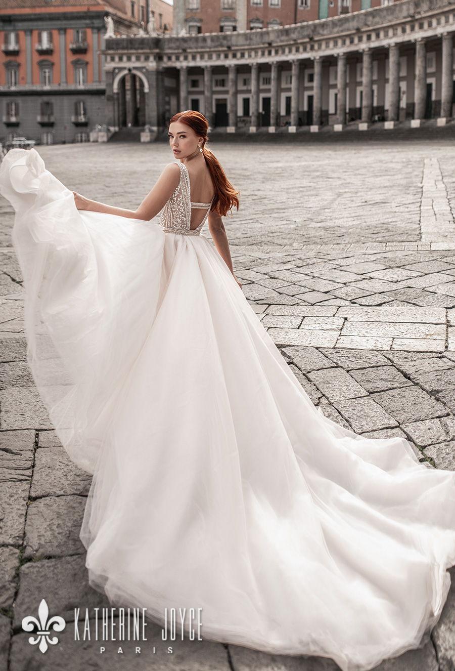 katherine joyce 2021 naples bridal sleeveless deep v neck full embellishment glitter glamorous elegant gold sheath wedding dress a line overskirt v back chapel train (sirena) bv