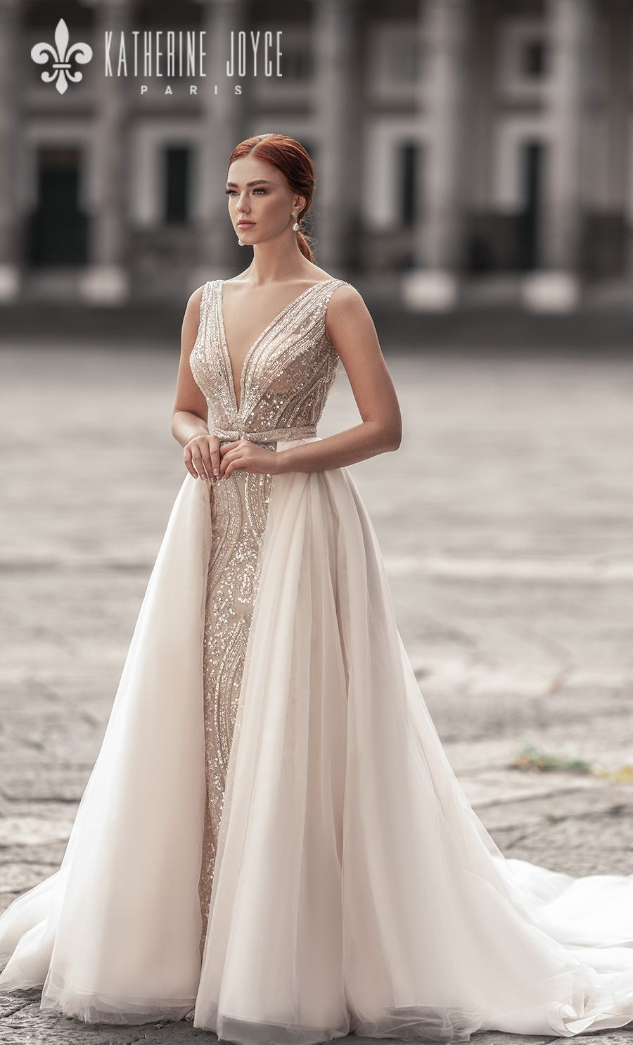 katherine joyce 2021 naples bridal sleeveless deep v neck full embellishment glitter glamorous elegant gold sheath wedding dress a line overskirt v back chapel train (sirena) mv
