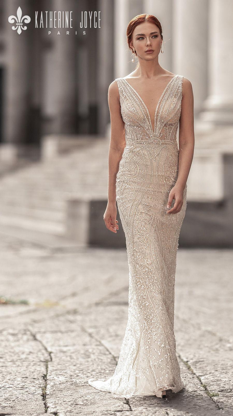 katherine joyce 2021 naples bridal sleeveless deep v neck full embellishment glitter glamorous elegant gold sheath wedding dress v back sweep train (sirena) mv