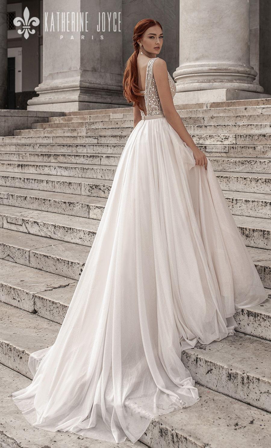 katherine joyce 2021 naples bridal sleeveless deep v neck heavily embellished bodice romantic a line wedding dress v back chapel train (calipso) bv