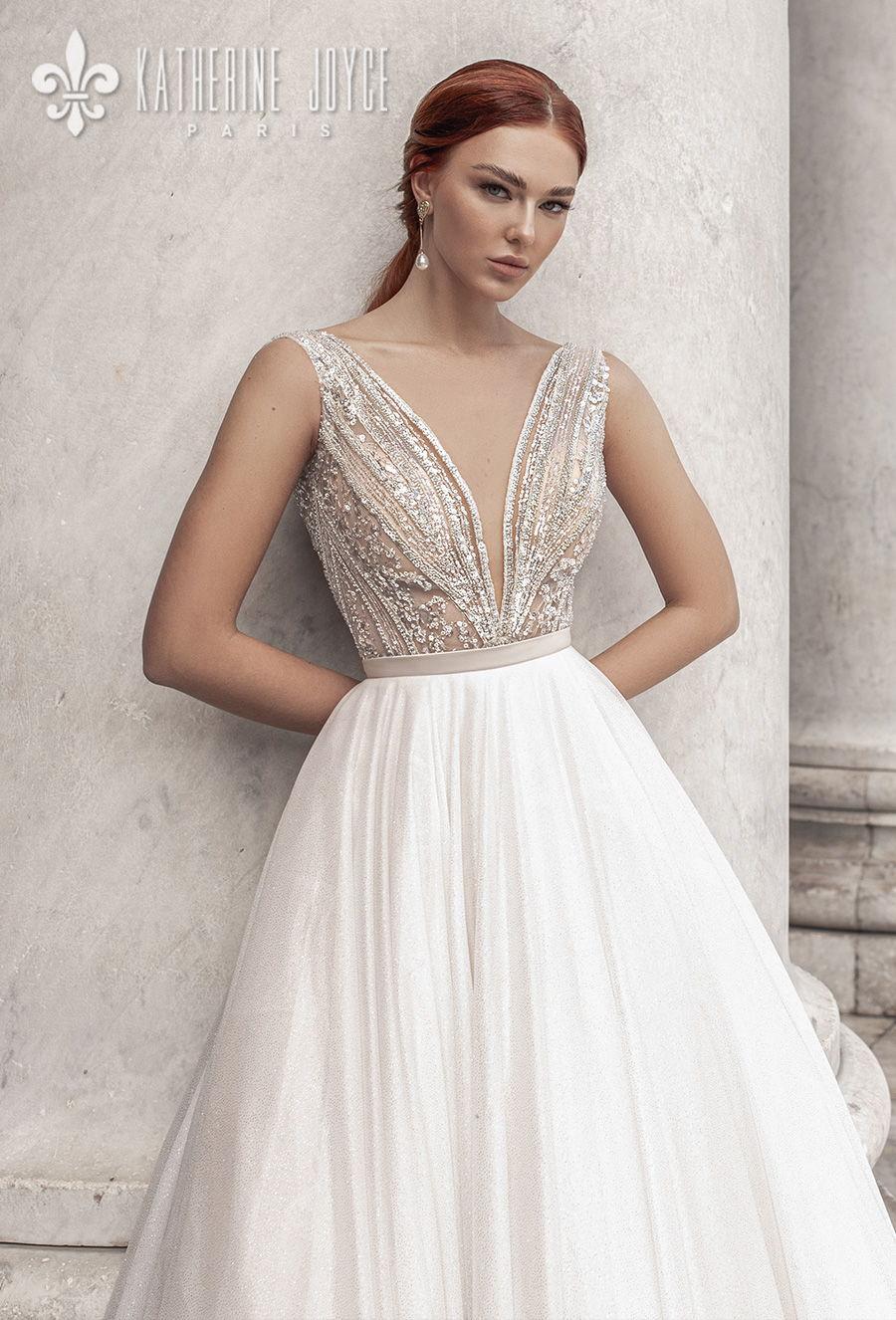 katherine joyce 2021 naples bridal sleeveless deep v neck heavily embellished bodice romantic a line wedding dress v back chapel train (calipso) zv