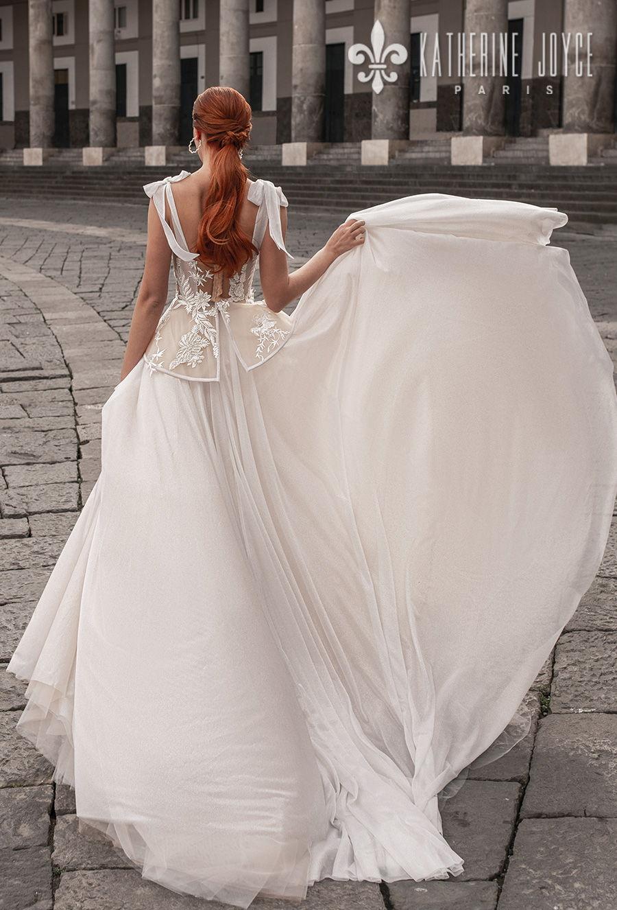 katherine joyce 2021 naples bridal sleeveless ribbon straps sweetheart neckline heavily embellished bodice bustier romantic a line wedding dress mid back chapel train (astraya) bv