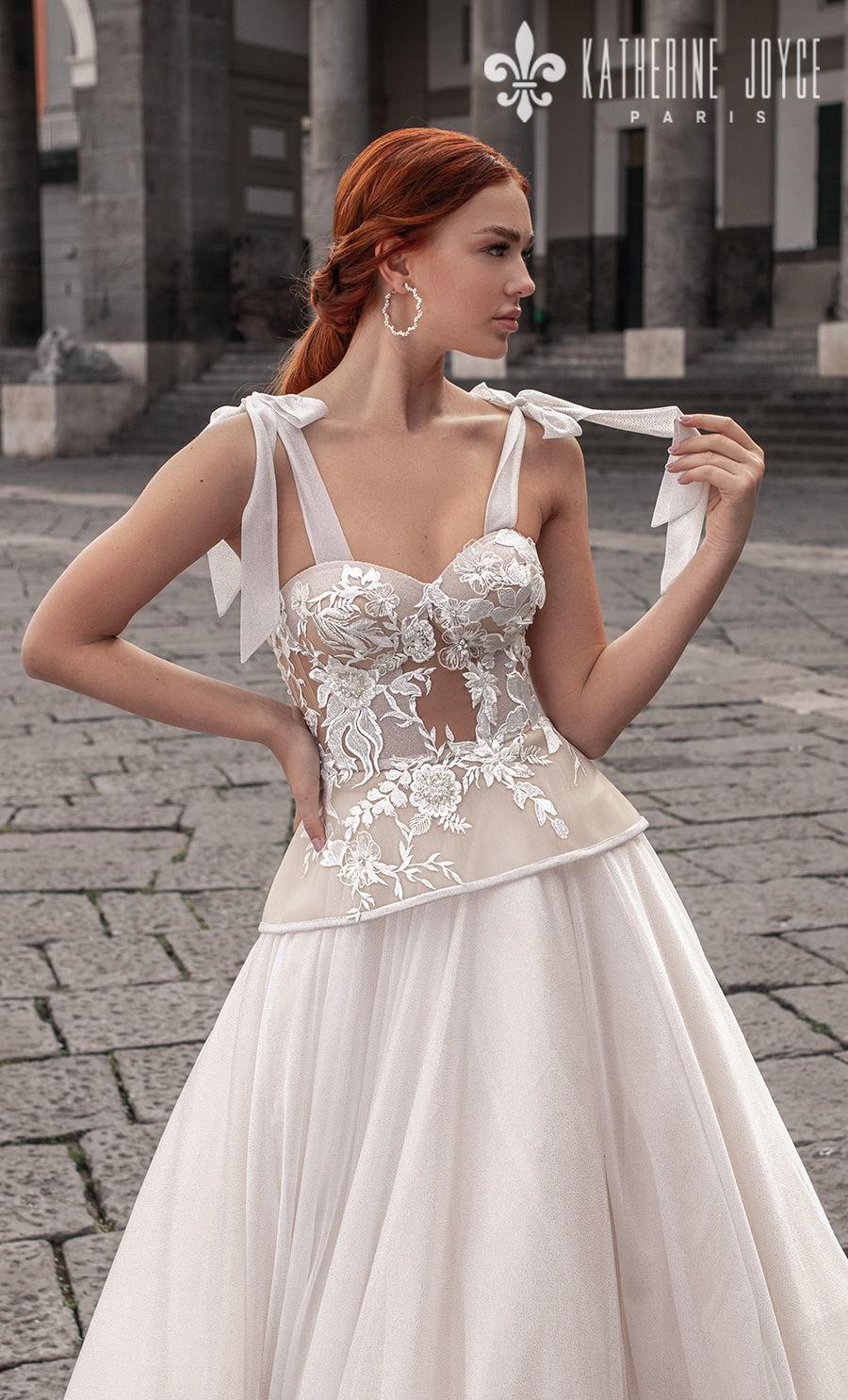 katherine joyce 2021 naples bridal sleeveless ribbon straps sweetheart neckline heavily embellished bodice bustier romantic a line wedding dress mid back chapel train (astraya) zv